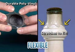 Durable poly-vinyl stretches like elastic to slip over all shapes and sizes of chair and furniture legs.