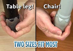 Two sizes slip on the legs of virtually any stool, table leg or chair to protect floors and stop noise.